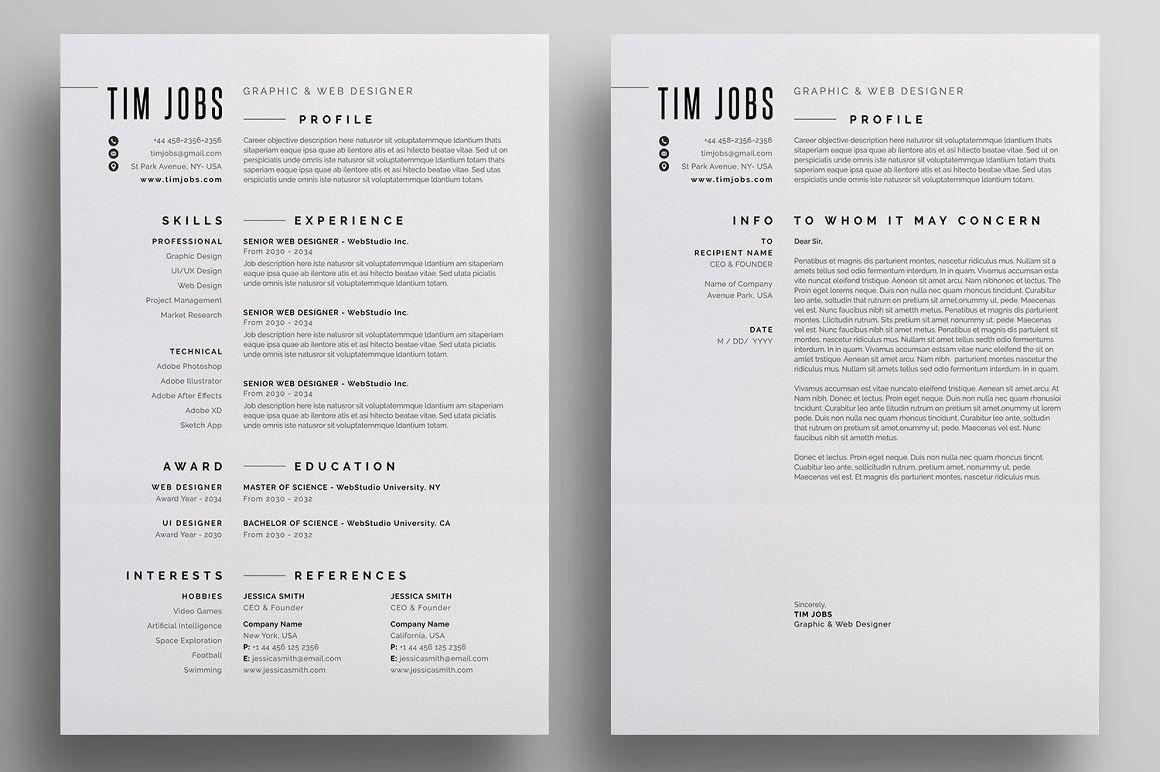 Resume/CV in 2020 Resume cv, Letterhead design