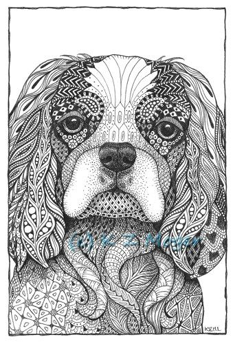 Small And Medium Breed Dogs Matted Print 9 Breeds To Choose From Whimsical Dog Portraits Zentangle Animals Dog Coloring Page