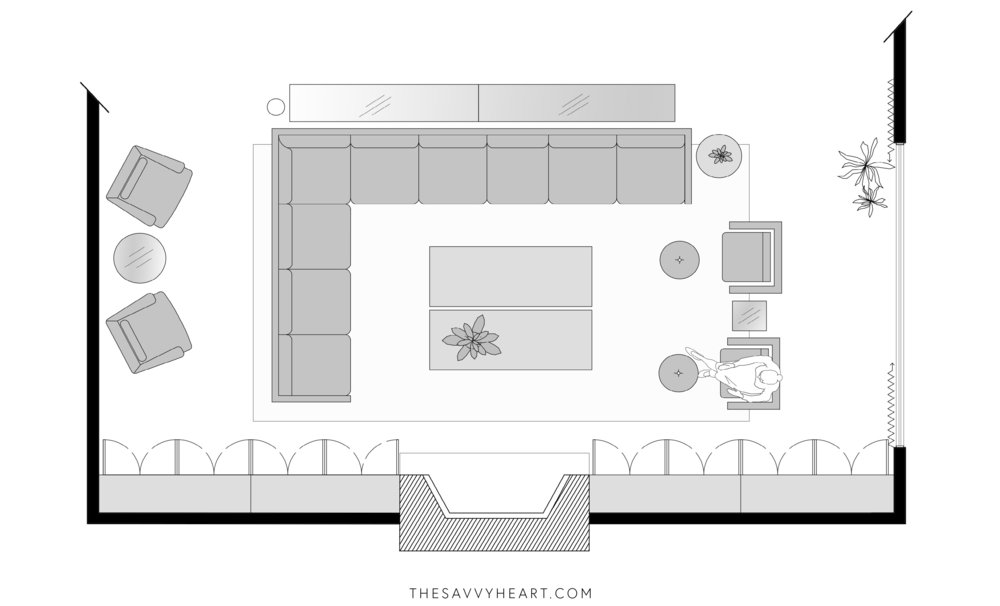 5 Furniture Layout Ideas For A Large Living Room With Floor Plans The Savvy Heart Living Room Floor Plans Living Room Furniture Layout Large Living Room Furniture