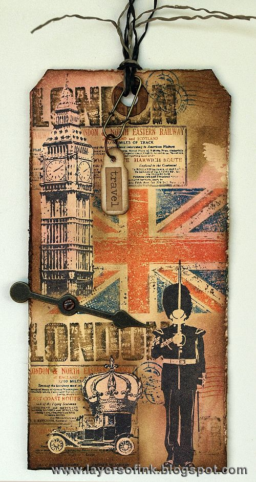 Layers of ink: 12 tags of 2013 August. London Tag, made with Stampers Anonymous Tim Holtz stamps, Ranger inks and a Sizzix die.