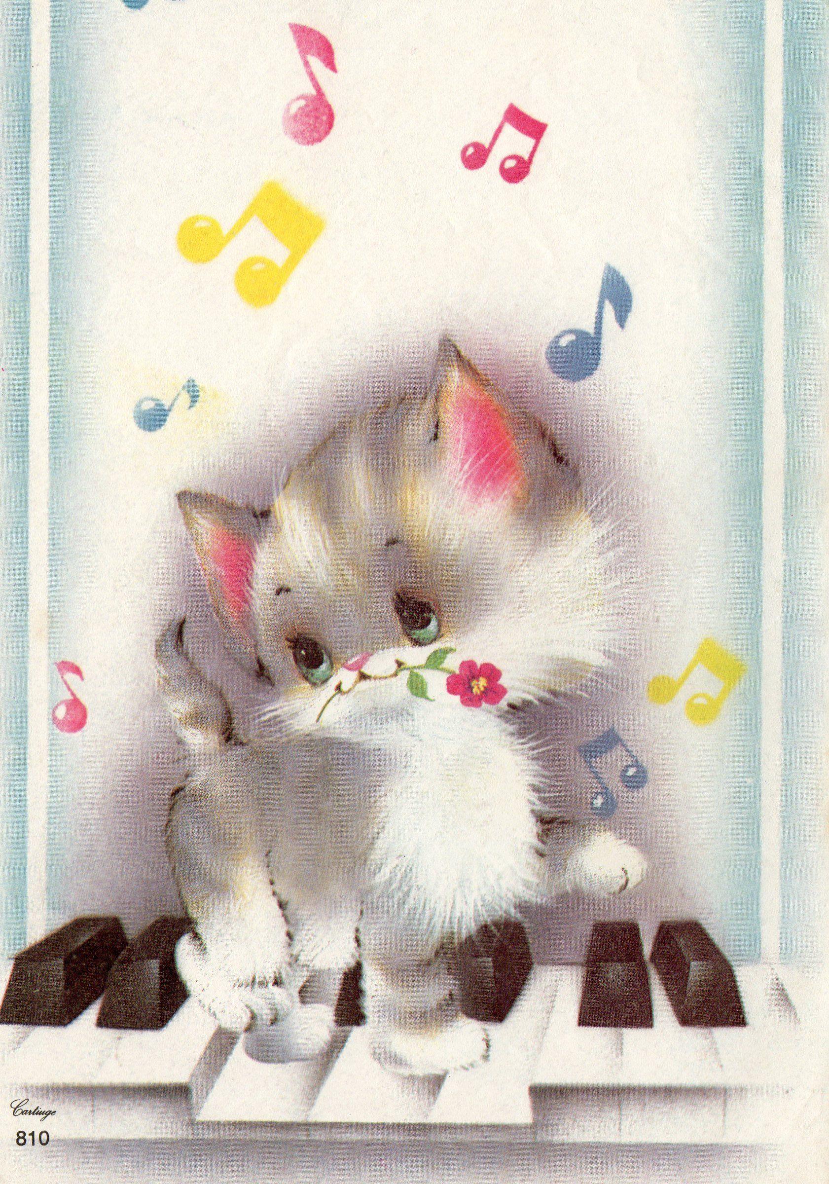 Papeldecarta Papel De Carta Vintage Cartiuge 810 Kittens Vintage Cartoon Clip Art Kitten Images