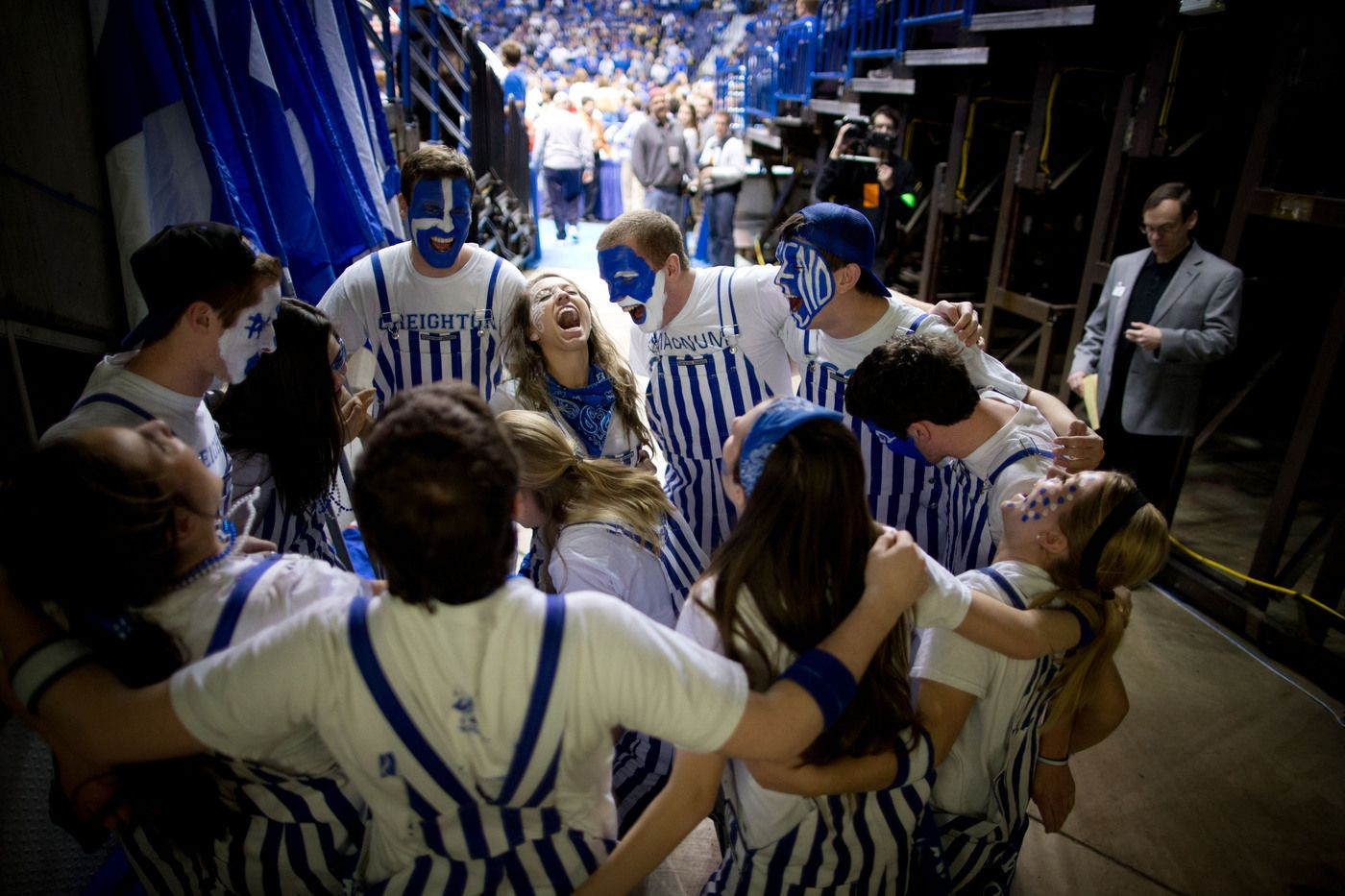 The Blue Crew huddles up before the game and prepares to