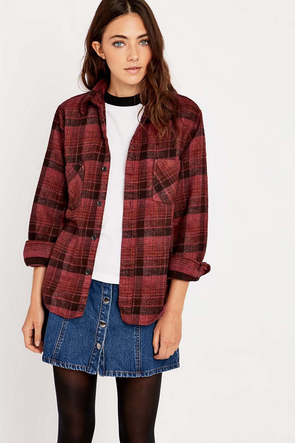 Retro flannel shirts  Urban Renewal Vintage Customised Burgundy Plaid Flannel Shirt