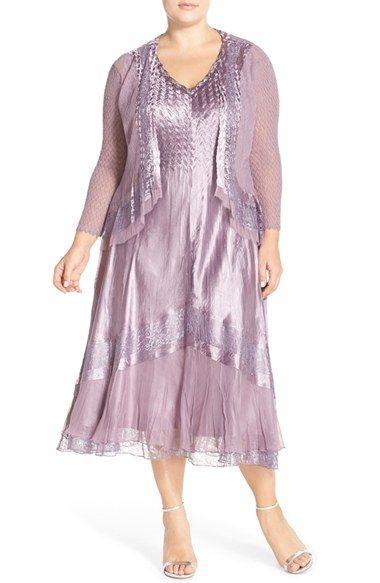 b7bd33d11bd Komarov Embellished Lace Inset Charmeuse   Chiffon Dress with Jacket (Plus  Size)