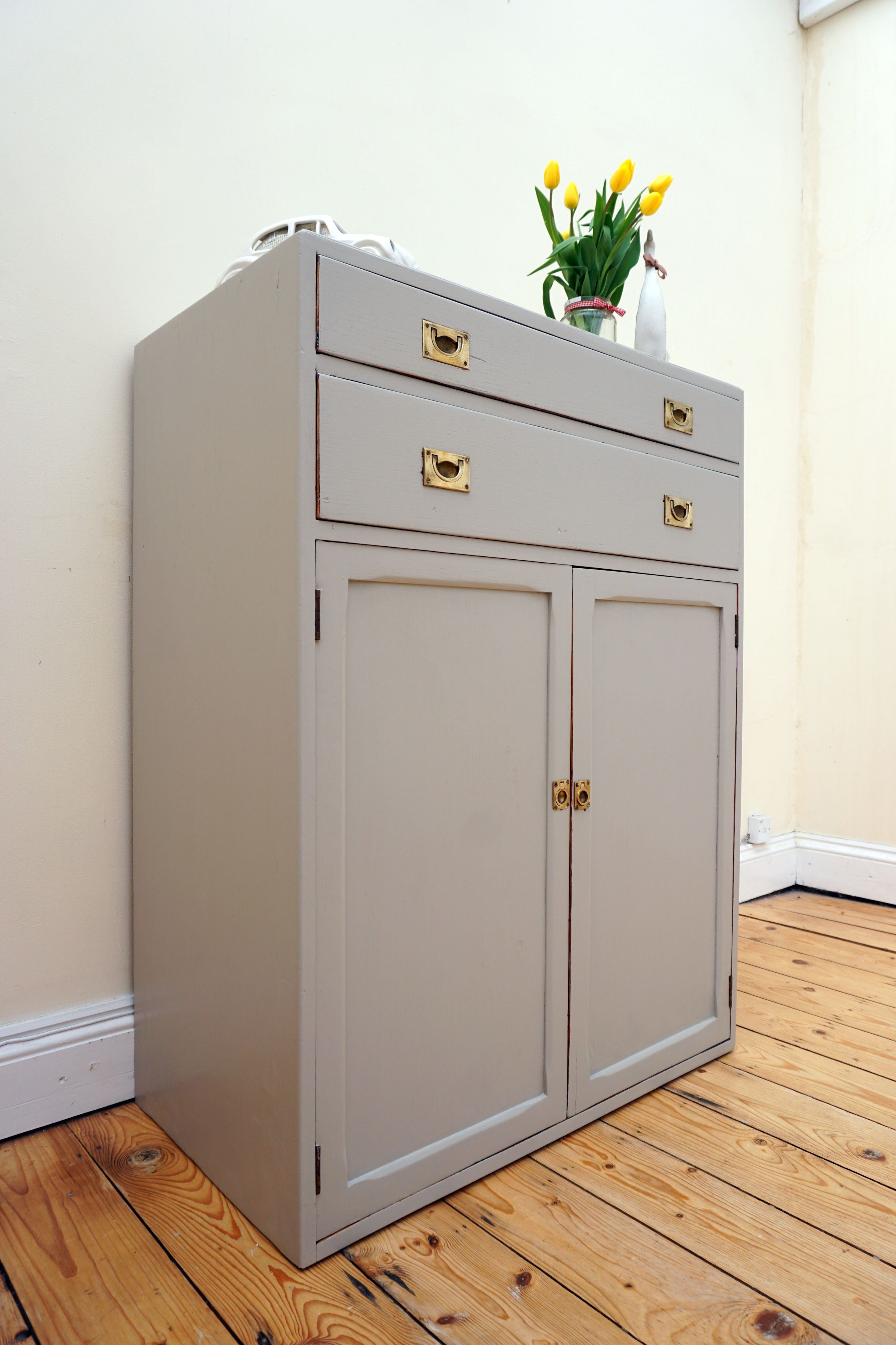 Mid century cupboard cabinet drawers is painted in Laura Ashley s