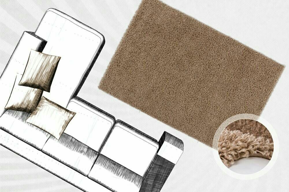 Shaggy Teppich in einem schönen braun Der Teppich ist dezent - teppich wohnzimmer braun