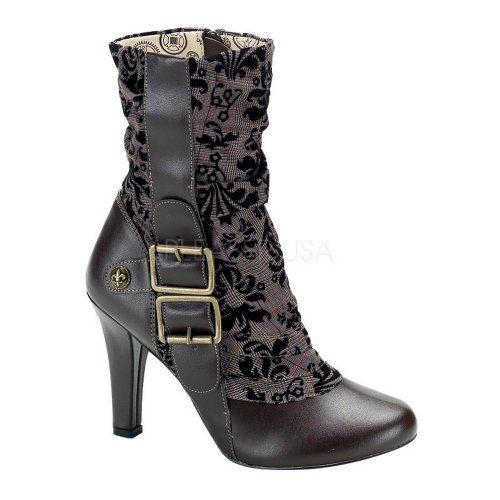 Steampunk-Tweed-Calf-Boot-Brown-Faux-Leather-Tweed-8-US-Previously-Sold-0