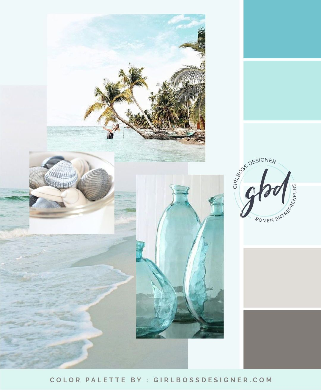 Pastel turquoise color palette mood board for network marketing leader in Rodan + Fields by Girlboss Designer #colorpalette #beachy #turquoise #aqua #beachstyle #branddesign #girlbossdesigner #girlboss #ladyboss #theeverygirl #rodanandfields #consultant #goaldigger #moodboards