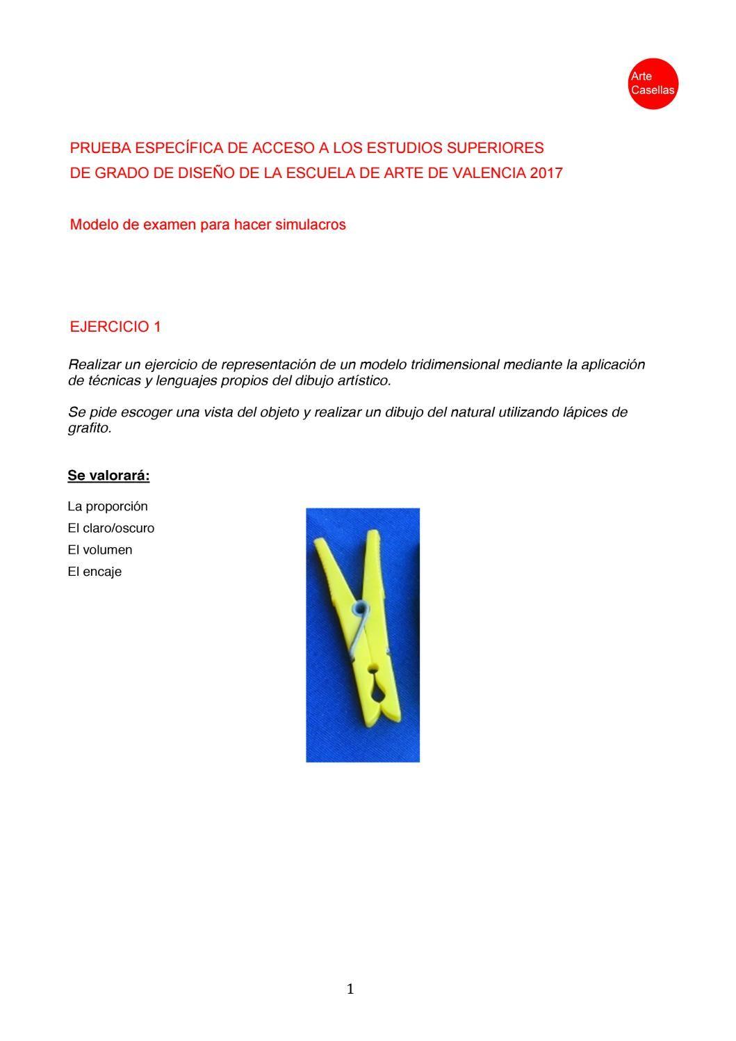 Modelo De La Prueba Específica De Acceso Easd Valencia 2017 Clases De Preparación Modelo De Examen Disenos De Unas Escuelas De Diseño