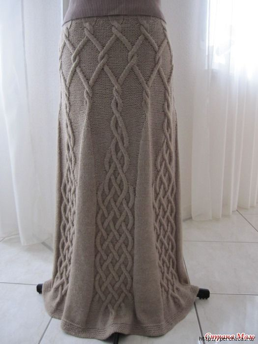 Вязаная красивая юбка спицами