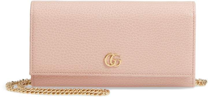 b319dc06704 Gucci Petite Marmont Leather Continental Wallet on a Chain in 2019 ...