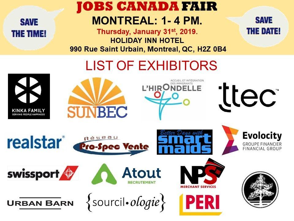List Of Hiring Companies For Montreal Job Fair January 31st 2019