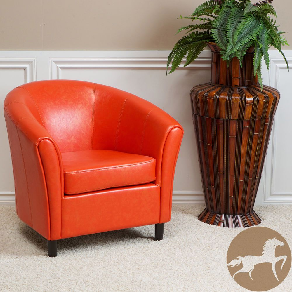 Napoli orange bonded leather club accent chair modern