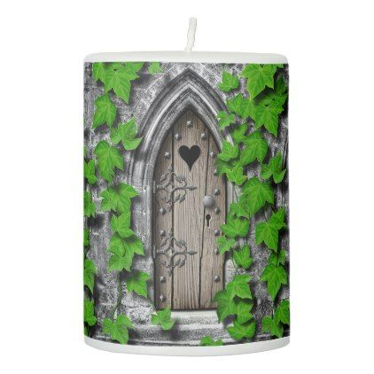 There Be Dragons King Arthur Medieval Dragon Door Pillar Candle   Home Decor  Design Art Diy