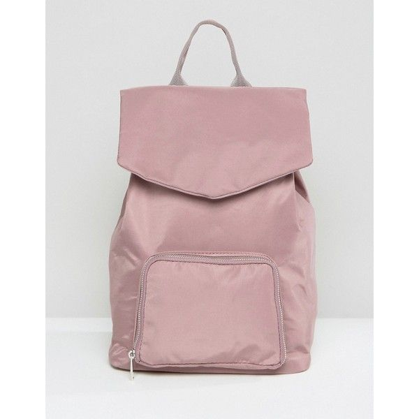 ASOS LIFESTYLE Backpack (21.240 CLP) ❤ liked on Polyvore featuring bags, backpacks, pink, pink backpack, asos, red drawstring backpack, red backpack and asos backpack
