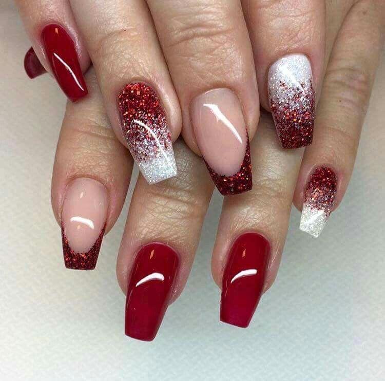 Simple Constellation Nail Art: Red Nail Designs, Red Acrylic Nails, Nail