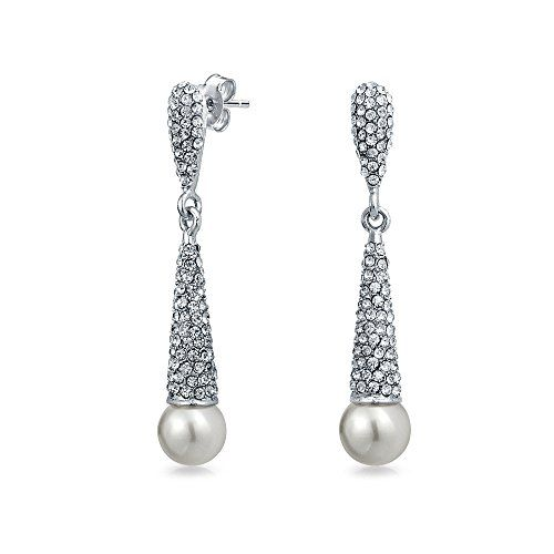 Bling Jewelry Simulated Pearl Crystal Chandelier Earrings Rhodium Plated