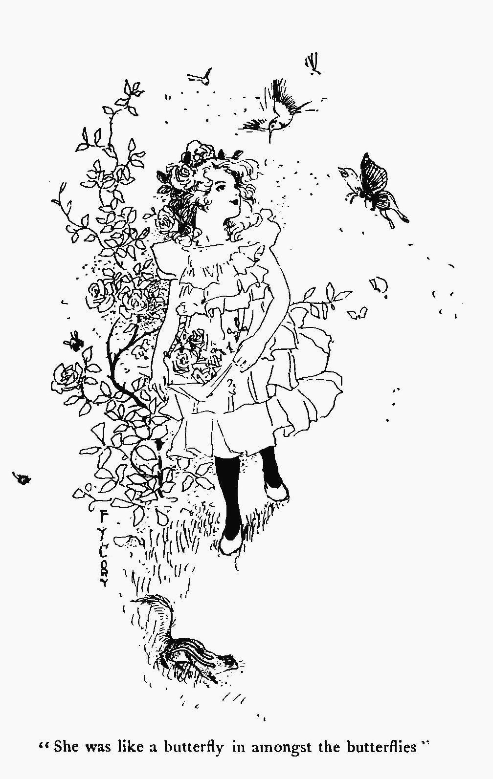 Vintage, printable girl and flowers coloring page by the artist ...