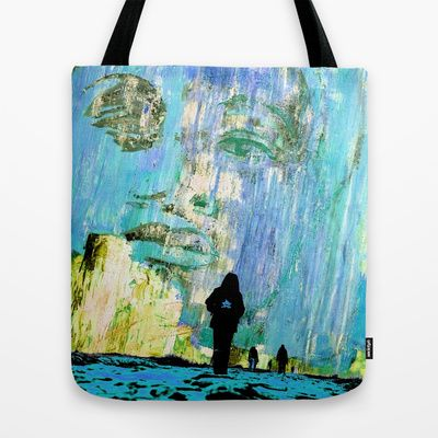 Castaneda and the kids - blue Tote Bag by ARTito  - $22.00