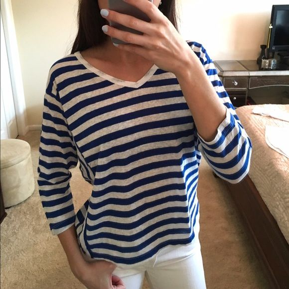 C&C California Striped Top C&C California cobalt blue and white v neck quarter sleeve striped top. Size small. Perfect condition. C&C California Tops Tees - Long Sleeve