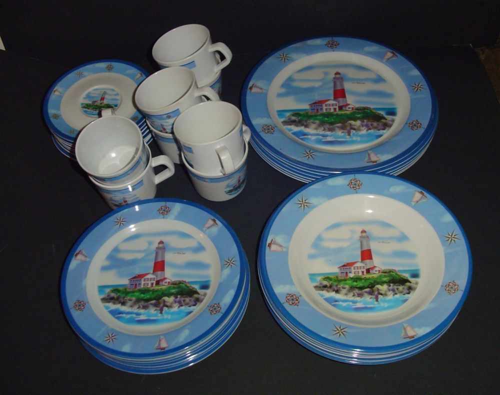 Melamine Lighthouse Dinnerware Ocean Beach 37 Pieces Rare & Melamine Lighthouse Dinnerware Ocean Beach 37 Pieces Rare ...