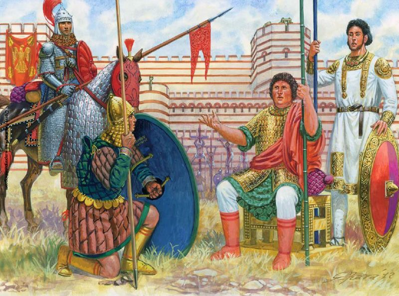 """""""Byzantine Imperial Guardsmen: Officers and soldiers preparing for the Bulgarian siege, August 913"""",  Giuseppe Rava"""