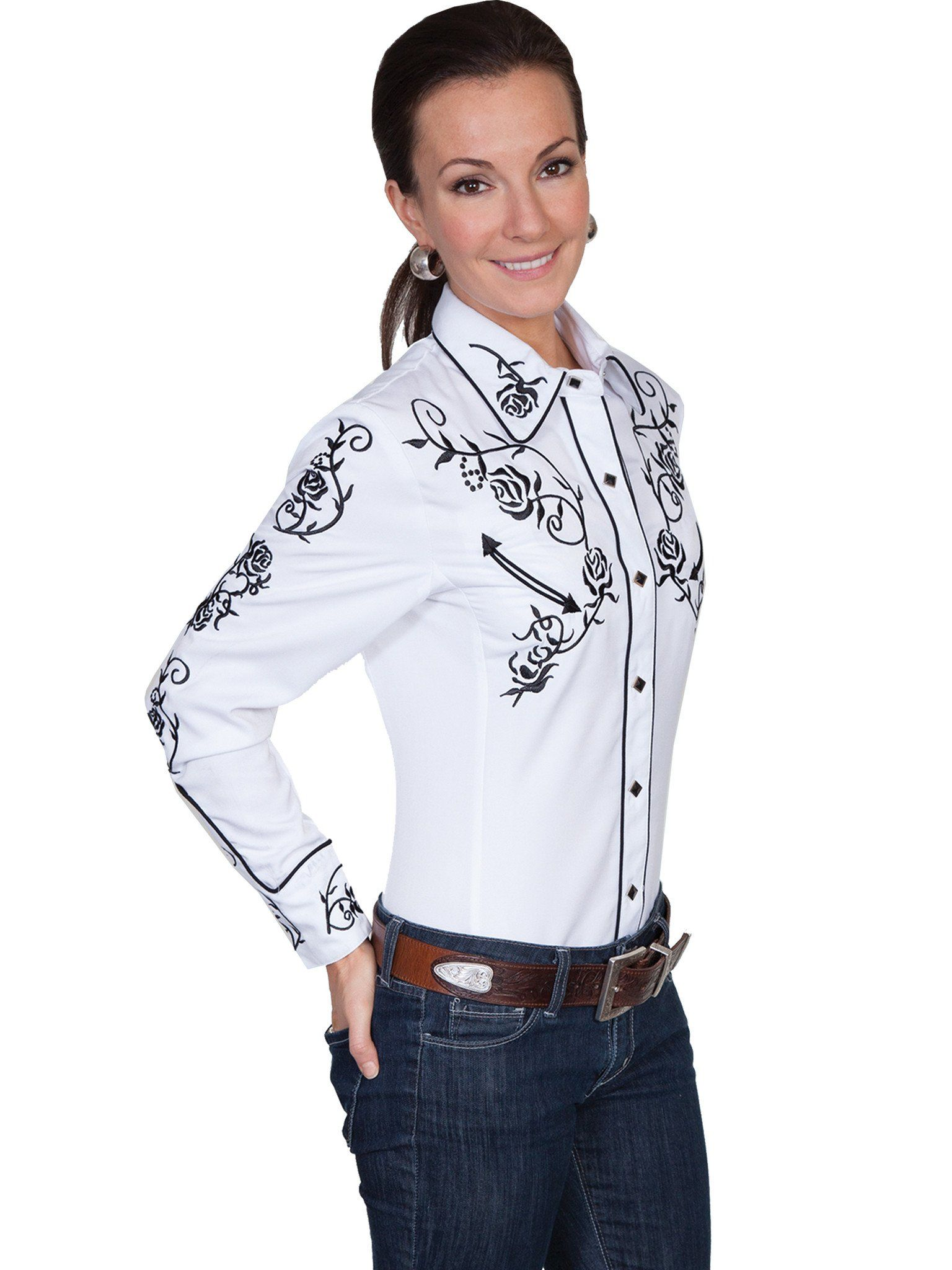 0c5d2c2eae43a8 Women's Vintage Western Shirt Collection: Scully Roses Black & White ...