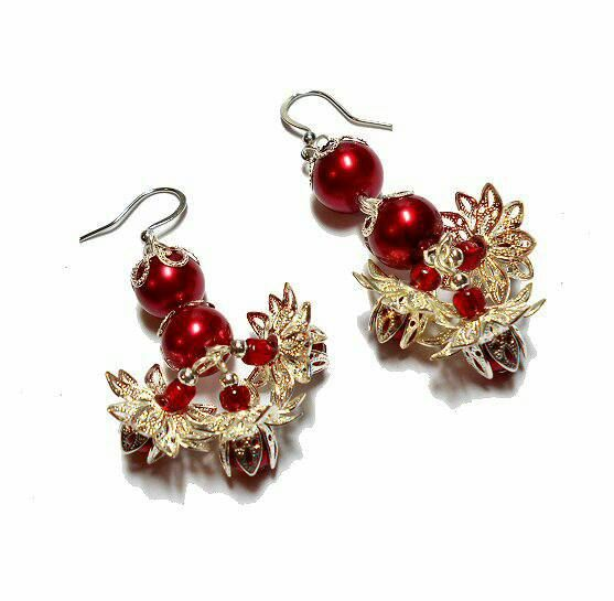 SALE Gorgeous Ruby Red Water Pearl Drop Earrings w/Dangling Triple Vintage Silver Layered Flower Pearl Charm Clusters Designer FREE SHIPPING - Only $5.95 on Etsy! https://www.etsy.com/listing/235536087/sale-gorgeous-ruby-red-water-pearl-drop