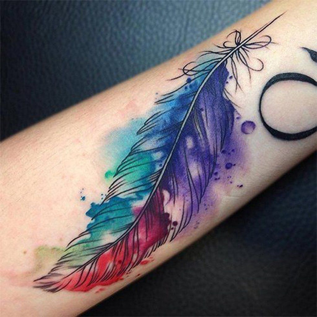 Tattoo name cover up ideas on wrist watercolor feather tattoo idea  mybodiart cooltattooideas