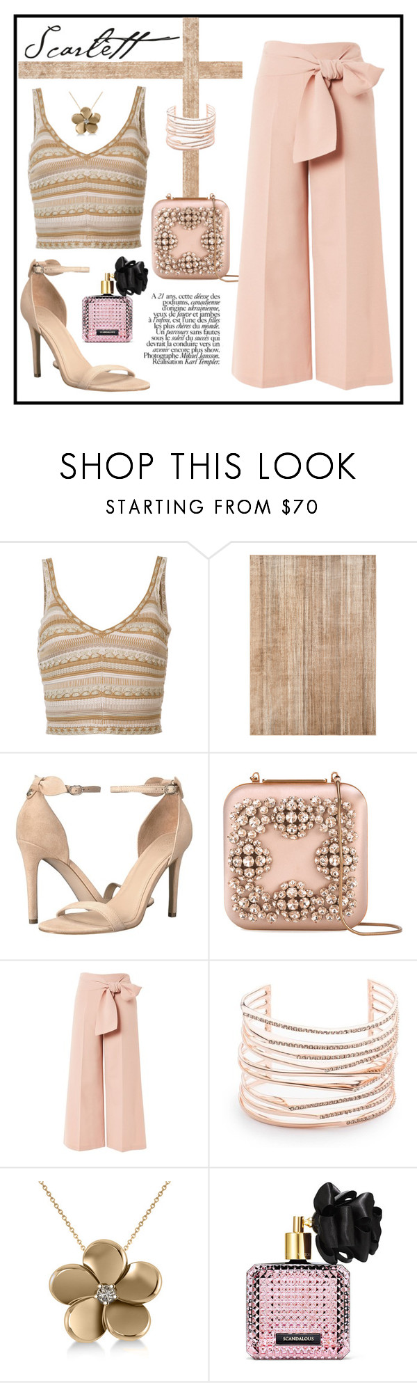 """""""THE SCARLETT LOOK"""" by taliafzl ❤ liked on Polyvore featuring Alice + Olivia, GUESS, Manolo Blahnik, Topshop, Alexis Bittar, Allurez and Victoria's Secret"""