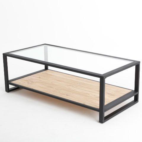 table basse rectangulaire en fer et pin l120cm avec plateau en verre boston akhal port offert. Black Bedroom Furniture Sets. Home Design Ideas
