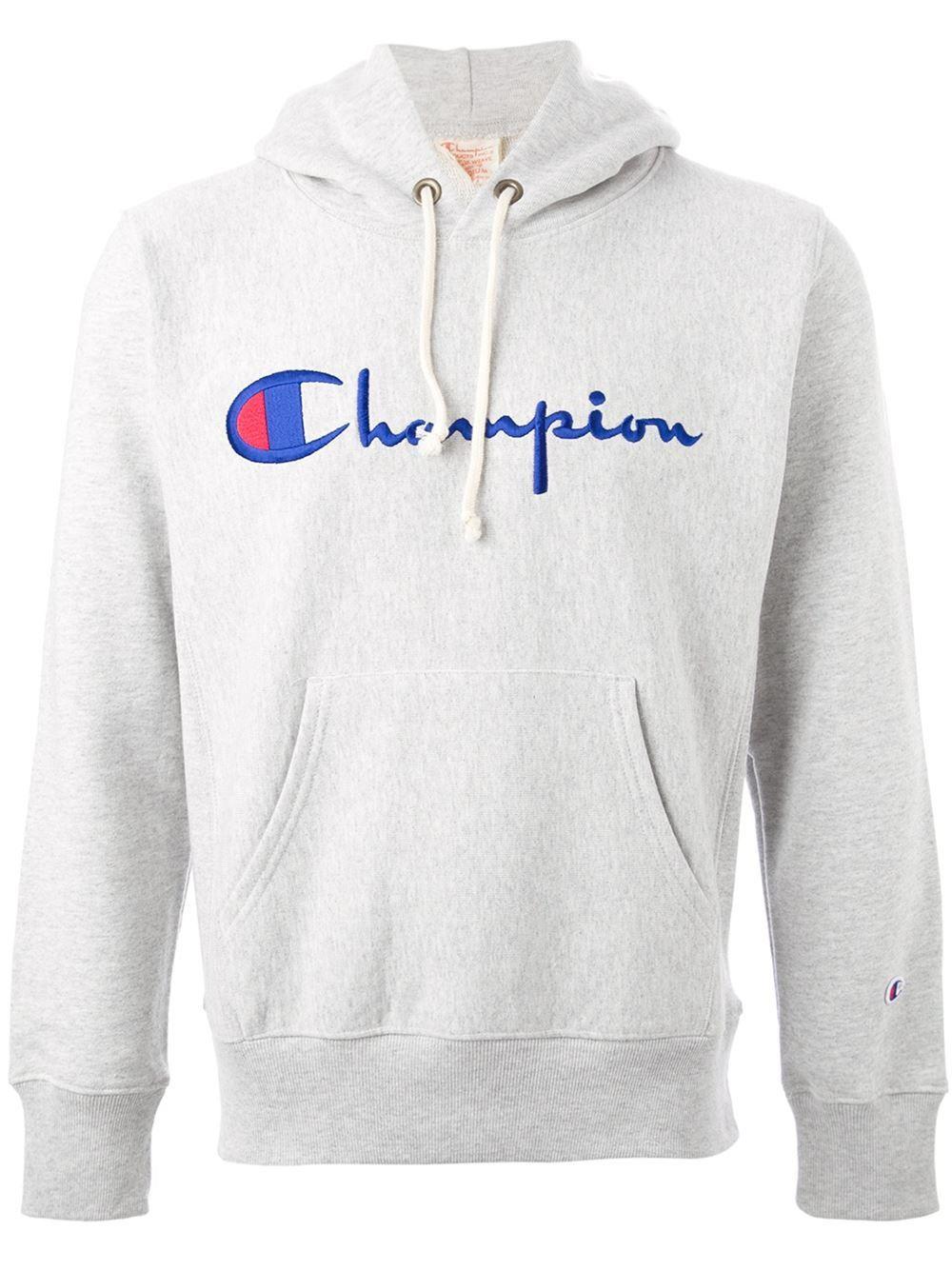 Champion Logo Hoodie Voo Store Farfetch Com Hoodies Gray Hoodies Hoodie Design [ 1334 x 1000 Pixel ]