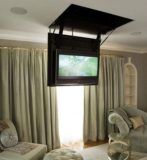 Dijeau Poage Construction Another Way To Conceal The TV In Bedroom Is Ceiling This Set Flips Up And Out Of Sight When Not Use