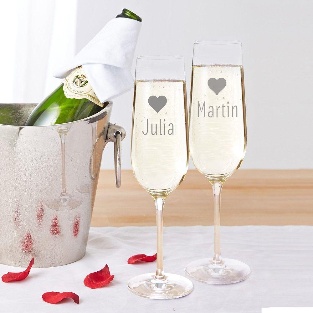 2er Set Sektglaser Herzchen Personalisiert Hochzeit
