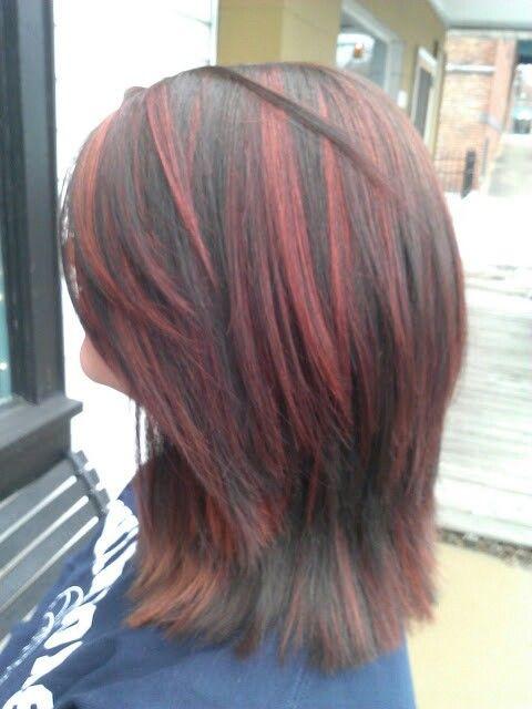 Red highlights black lowlights short layered haircut hair ...