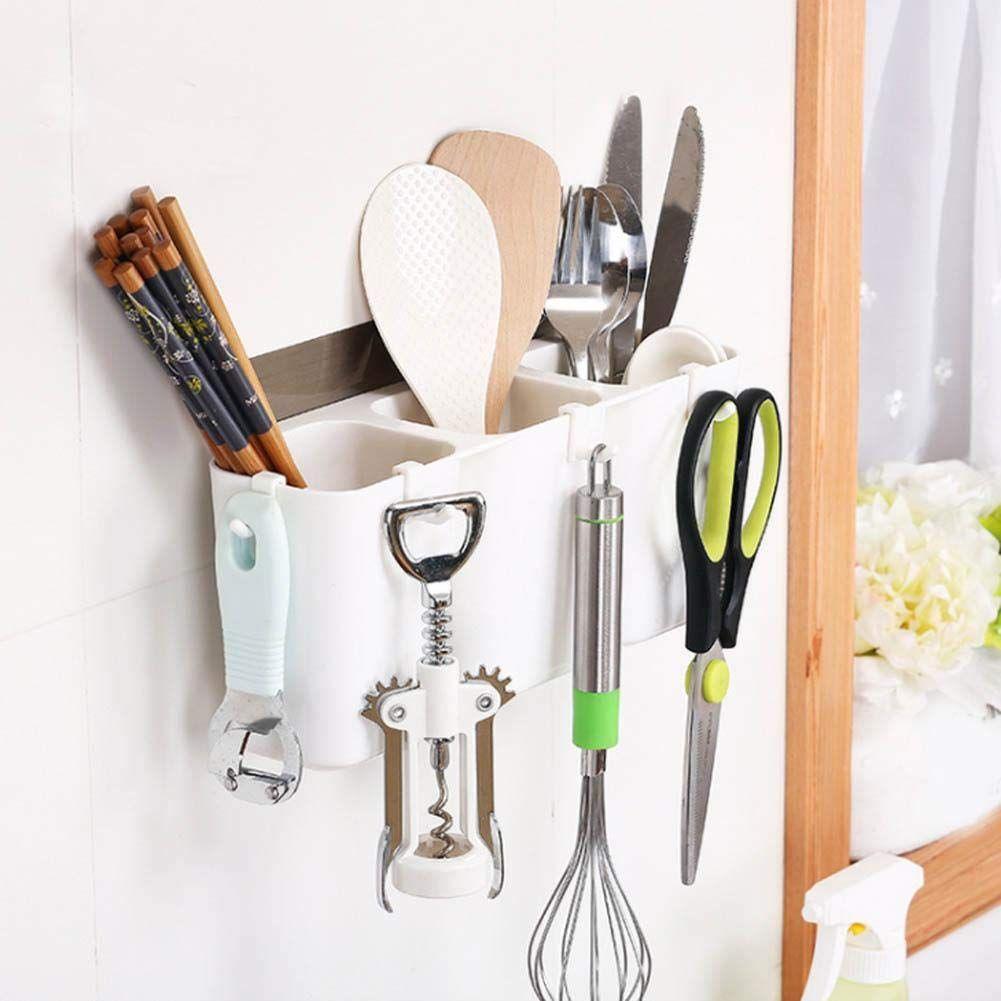 Utensils Storage Shelf No Trace Sticker Mounted Hanging Kitchen
