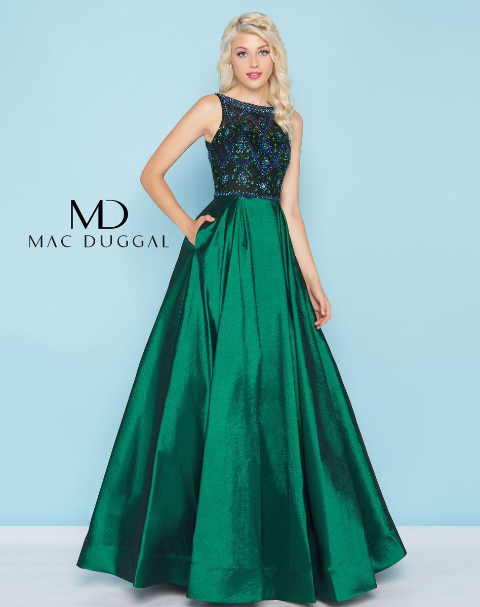 Sleeveless, floor length, fit and flare, shiny taffeta ball gown ...