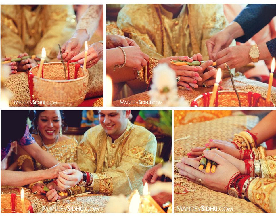 Cambodian American Wedding Incorporating Tying The Knot On Both Bride And Groom Blessings
