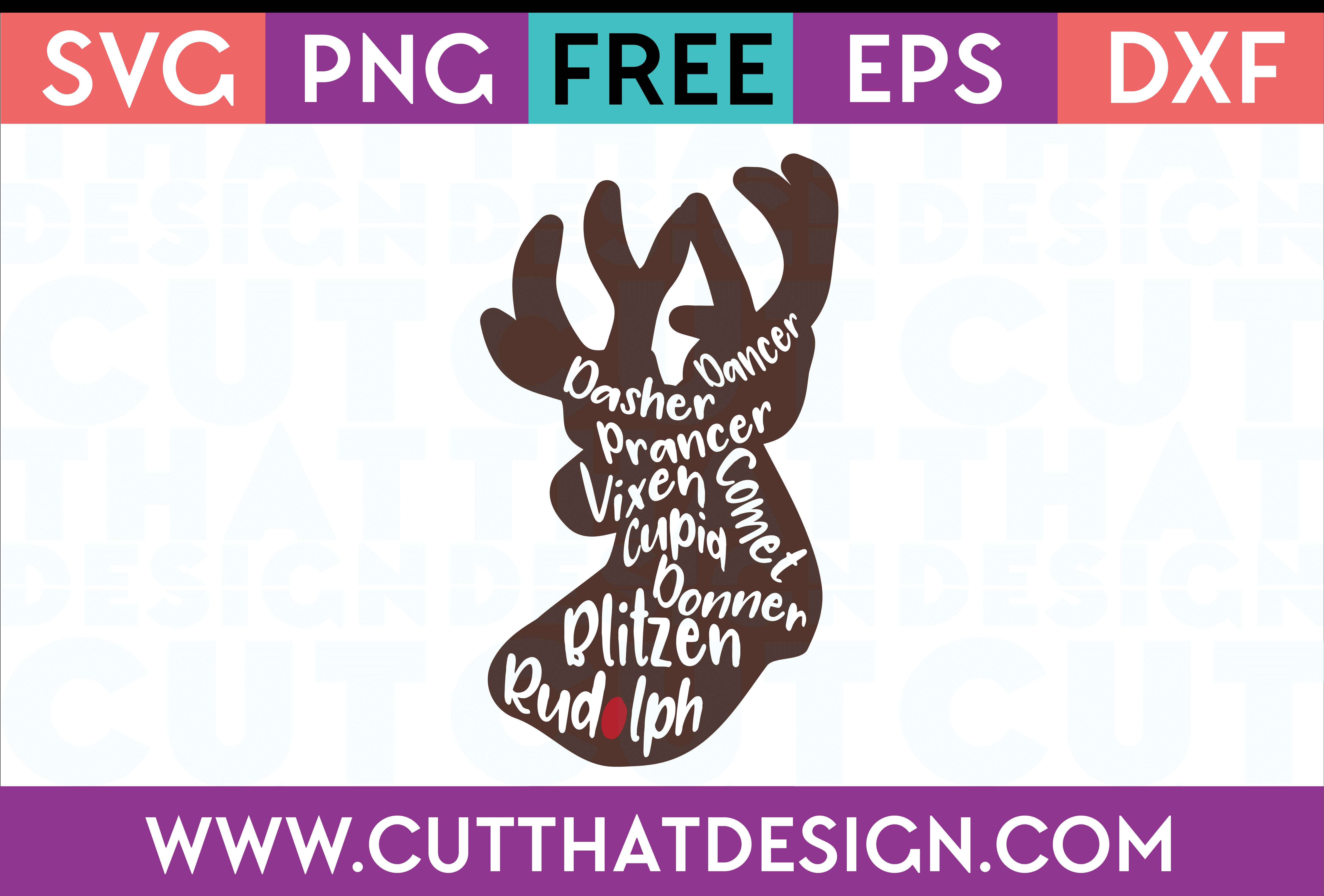 Free SVG Files Reindeer names, Christmas svg, Free