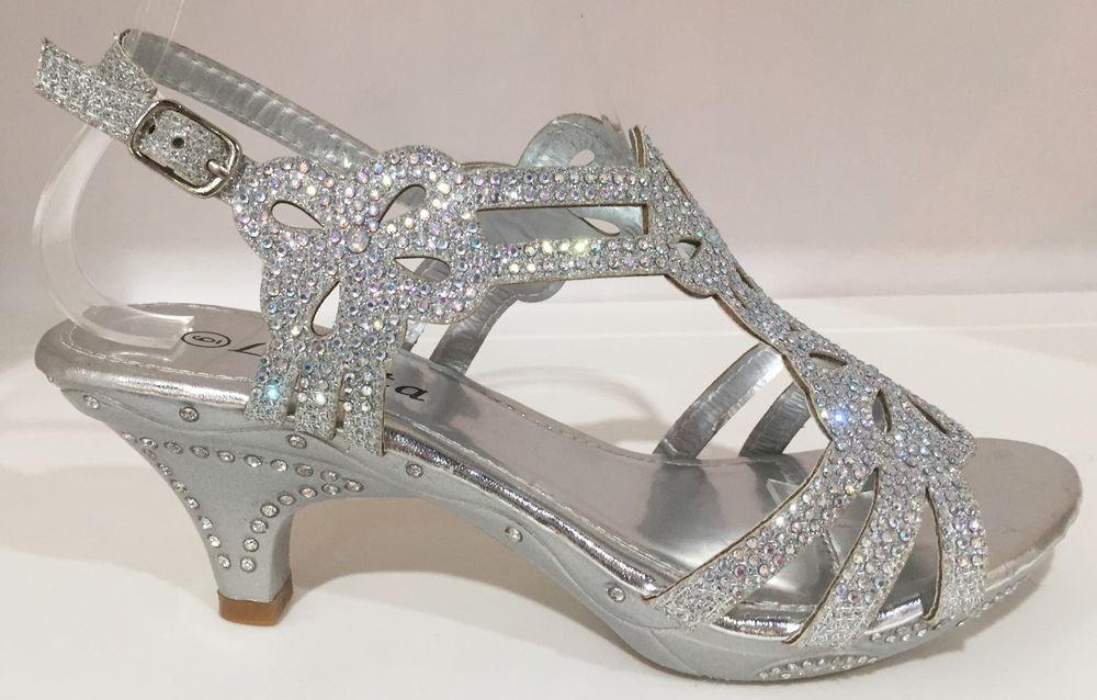 818bcfcacfa Wedding Prom Open Toe Slingback Kitten Low Heel Glitter Rhinestone Shoe  Silver  Lucita  KittenHeels