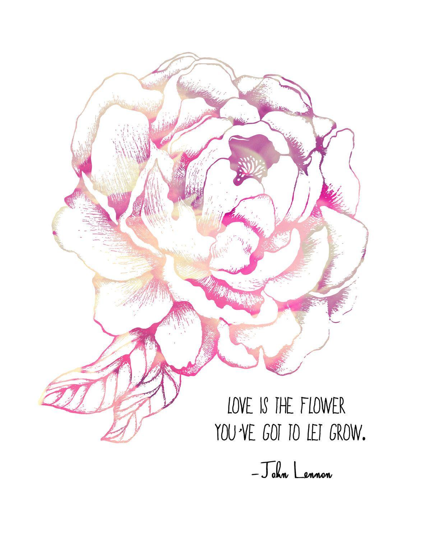 John Lennon Quote, Pink Peony Flower 8x10 Metallic Print