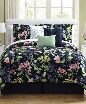 Royal Green Floral Augustine Seven Piece Comforter Set Comforter Sets Queen Size Comforter Sets Bed Comforters