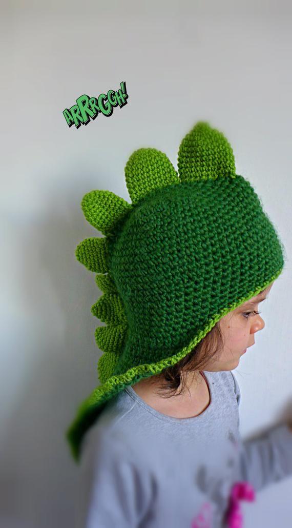 CUSTOM Kids Dragon Dinosaur Hat. Crochet funny Animal Beanie ...