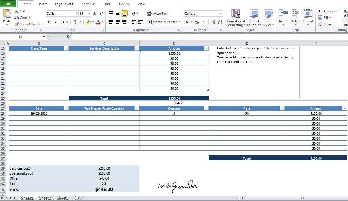 Auto Repair Invoice Template Free Word, PDF and Excel
