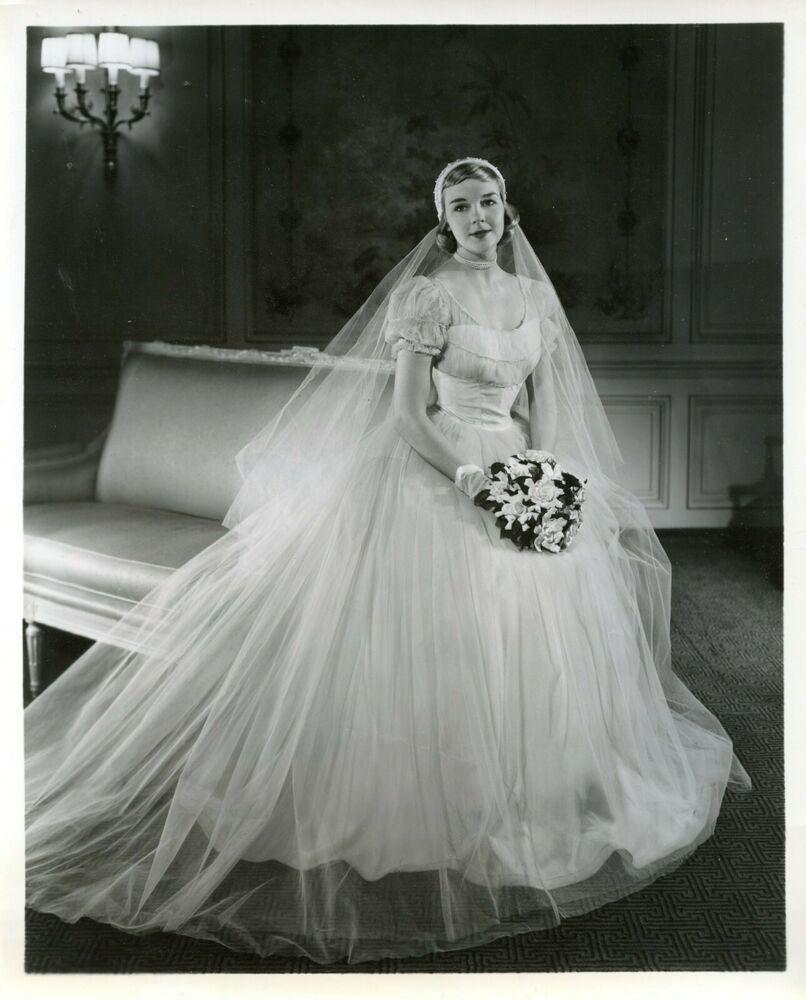 Vintage 118s 18x18 BRIDAL PHOTO Pretty Bride in Beautiful Wedding ...