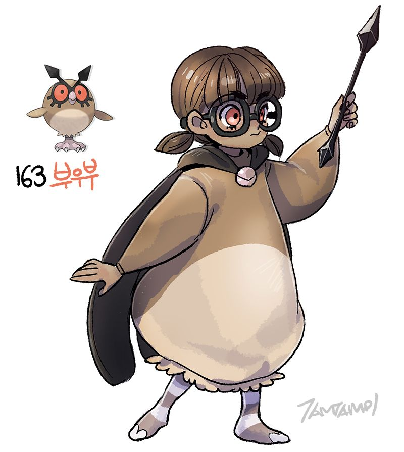 Pokemon gijinka 163. Hoothoot 164. Noctowl | POKEMON ...
