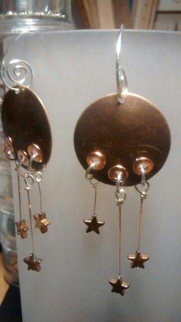 Earrings, copper