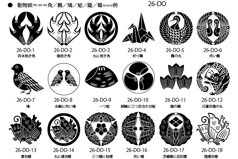 家紋 動物紋の一例 家紋 日本のデザイン 切り絵 図案