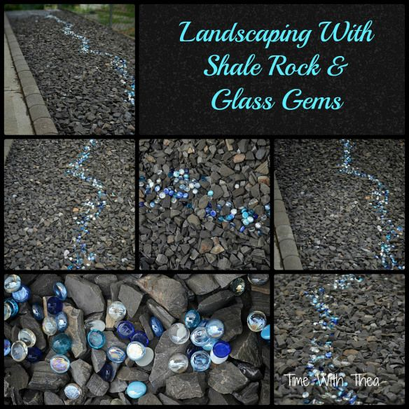 Nice Landscaping With Shale Rock And Glass Gems {Time With Thea}  #HometalkEveryday