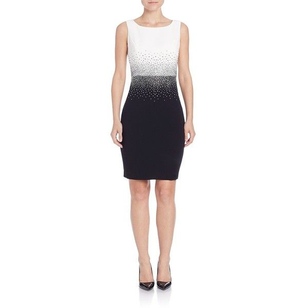 Calvin Klein Ombre Embellished Sheath Dress ($149) ❤ liked on Polyvore featuring dresses, eggshell, bateau neck dress, embellished dresses, blue sheath dress, calvin klein and sleeveless dress